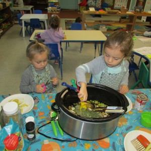 Brookeside students making soup from garden vegetables