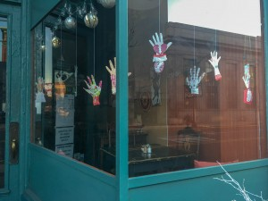 """Heart in Hand"" Scherenschnitte Love Notes by Brookeside Montessori School in window"