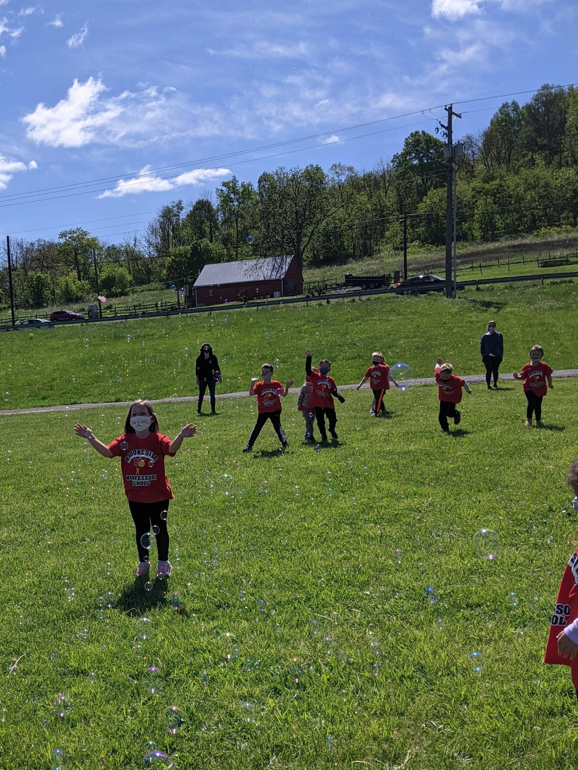 Field Day 2021 at Brookeside Montessori School - Bubble fun