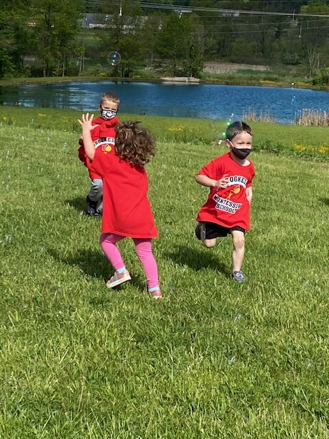 Field Day 2021 at Brookeside Montessori School - Catching Bubbles!