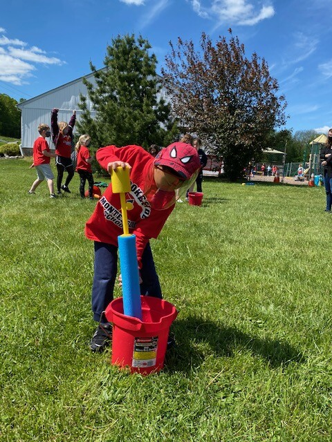Field Day 2021 at Brookeside Montessori School - Water Squirting Game